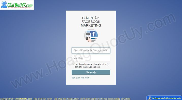 Giao diện phần mềm Facebook marketing Online của ChatBiz247.com