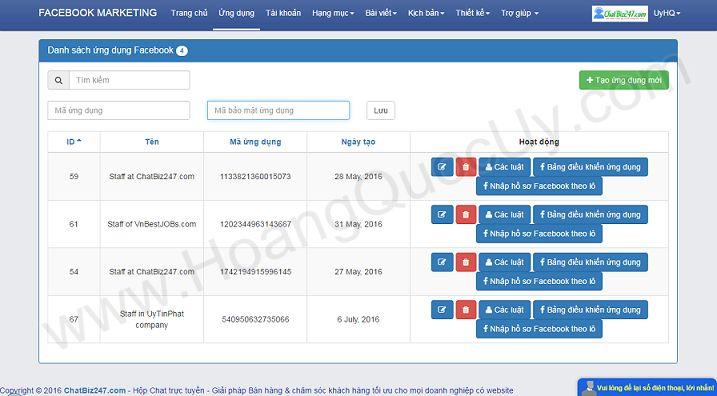 Giao diện tạo ứng dụng App cảu phần mềm Facebook Marketing Online