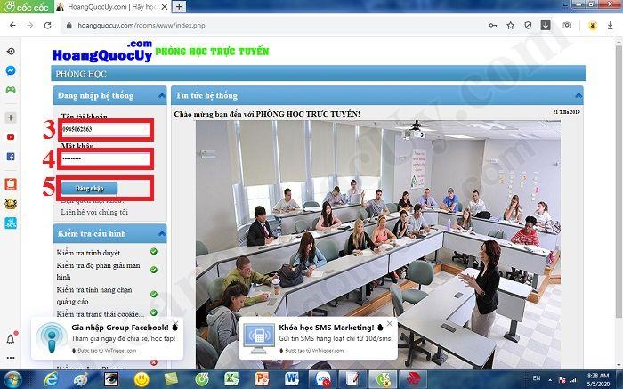 Đăng nhập vào phòng học trực tuyến