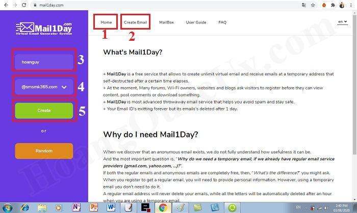 Tạo tài khoản Email ảo